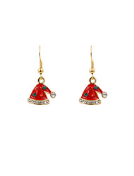 Cute Stone Set Enamel Christmas Hat Earrings