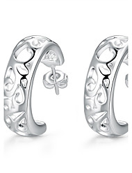 lureme®Fashion Style Silver Plated Crescent Shaped Hoop Earrings