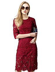 Sheath/Column Mother of the Bride Dress - Blushing Pink / Burgundy / Black / Sky Blue Knee-length Half SleeveLace /