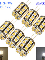 YouOKlight® 6PCS G4 7W 600lm  3000/6000K 27*SMD5050 LED Corn Bulb/Crystal Lamp Bead (AC/DC 12V)