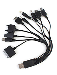 10 in 1 Multifunctional Universal USB Charger/Data Cable for Mobile Phone/MP3/MP4/GPS