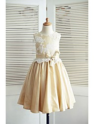 A-line Knee-length Flower Girl Dress - Lace / Taffeta Sleeveless