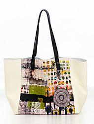 cowhide bag splash-ink shoulder bag the European and American fashion lady tottenham single  Shoulder Bag / Tote - beige