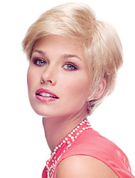 Delicate Short Straight Human Virgin Remy Hand Tied Top Capless Lady Hair Wig