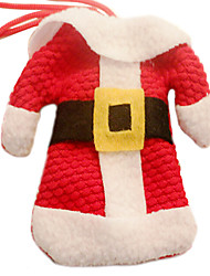 Santa Clothes and Pants in Knife Fork Cloth Cover for Christmas Dinner Table Party Decoration(1 Set)