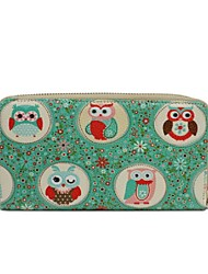 Cartoon animal printed leather wallet—owl