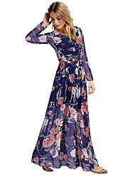 Women's Vintage / Party Print A Line Dress , Round Neck Maxi Polyester