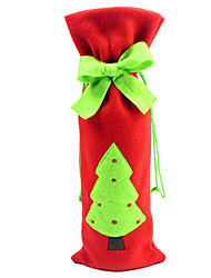 Christmas Tree Bow Tie in Wine Bottle Cloth Cover for Christmas Dinner Table Party Decoration(1 Piece)