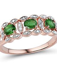 classique 14 carats des femmes en or rose sertie d'émeraude naturelle et bague en diamant