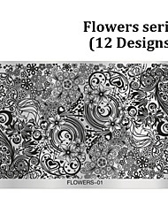 1pcs Flowers Design Nail Art Stamping,Polish Nail Stamp Plates Mould Stencil DIY Manicure Nail Template