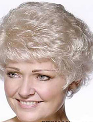 Beautiful European Natural Color Old Lady Women Top Quality Short Synthetic Hair