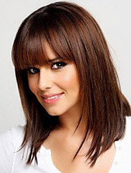 Natural Modern Human Virgin Remy Hand Tied-Top Mid-Length Straight Woman's Hair Wig