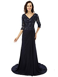 Ball Gown Mother of the Bride Dress Sweep / Brush Train Chiffon with Appliques / Beading