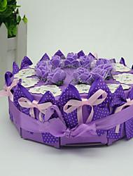 10pcs Papier Schachtel mit Süßigkeiten Kuchen-Boxen von lila Rosen und bowknot Ornament