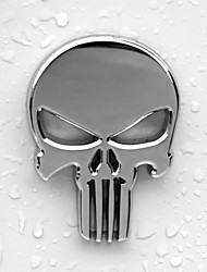 6x4.3cm Skull Head Solid Zinc Alloy Chrome Metal Car Styling Emblem 3D Sticker Cool Scary Exterior Mark