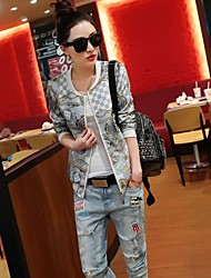 Women's Print Gray Baseball Uniform Cardigan Jackets , Casual / Print Plus Size Round Neck Long Sleeve