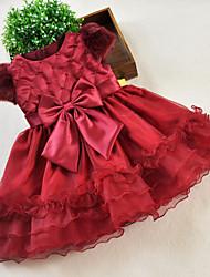 A-line Knee-length Flower Girl Dress - Organza / Satin Short Sleeve Jewel with