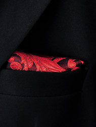 Men's Pocket Square Paisley Red 100% Silk Business Dress