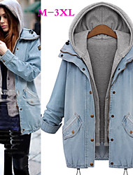 Big girl Women's Color Block Blue Coats & Jackets , Casual Hoodie Long Sleeve