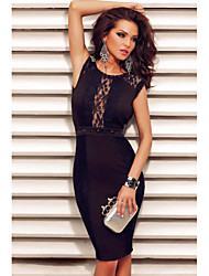 Women's Lace Decor Chained Sexy Backless Evening Dress