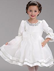 Girl's Vogue  Cotton Blend / Satin Winter / Fall Bowknot  Puff Sleeve Set Drill   Flower Girl Dress Dress