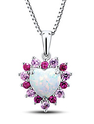 Women's Heart Shape Sterling Silver set with Created Opa\Ruby\Pink Sapphire Pendant with Silver Box Chain