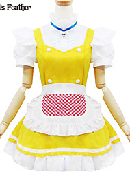 Yellow and White Polyester  Maid Costume