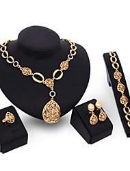 2016 Fashion Women Jewery Set Gold Necklace Earrings Bracelet Rings Parure Bijoux