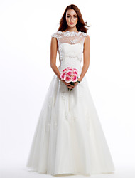 Lanting Bride® A-line Wedding Dress Two-In-One Wedding Dresses Floor-length Jewel Lace / Tulle with Appliques / Lace