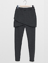 Pants Women's Color Block Black / Gray Pants , Vintage / Sexy / Bodycon / Casual Mid Rise Sleeveless