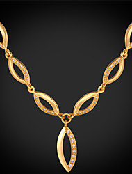 Vogue  Cute Luxury Cubic Zirconia Choker Necklace 18K Real Gold Platinum Plated Jewelry for Women High Quality