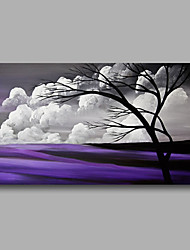 Ready to Hand Stretched Oil Painting Hand-Painted Canvas Wall Art Modern Trees Clouds Purple one Panel