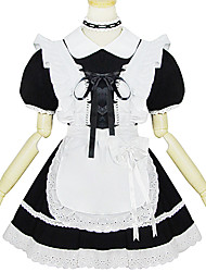 Black polyester maid costume
