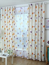 Two Panels Modern Geometic Beige Kids Room Printed Curtains Drapes