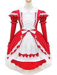 poliéster negro y rojo traje de sirvienta tipo8