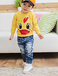 Boy's Cotton Spring / Fall Long Sleeve  Cartoon Duck jacket  Leisure Jeans Two-Piece Set