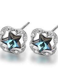 925 Sterling Silver CZ Stone Fashion Star Crystal Stud Earring