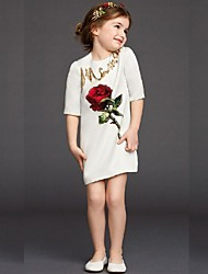 Girl's Vogue  Cotton Blend Fall/Winter Fall/Spring  Sequins  Rose  Flowers Half Sleeve Printing Princess Dress