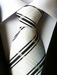 Men Wedding Cocktail Necktie At Work White Black Cross Tie