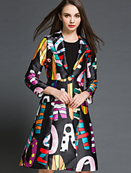 Women's Floral White Coat  Vintage  Casual Long Sleeve Others