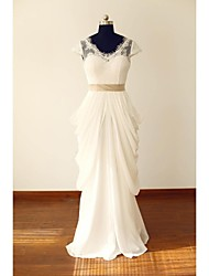 A-line Wedding Dress Lacy Look Floor-length V-neck Chiffon Lace with Ruffle Sash / Ribbon