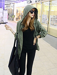 Women's Solid Green Trench Coat , Casual Long Sleeve Cashmere