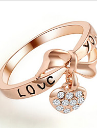 Lureme®Sweet Love Heart Bow  Rhinestone Ring