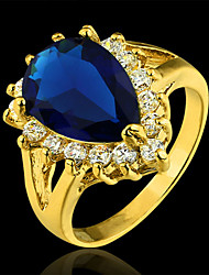 2015 Fashion Noble Elegant Gold Plated Pear Cut Cubic Zirconia Blue Ring for woman&lady