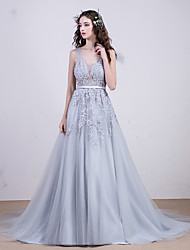 Cocktail Party / Formal Evening Dress - Multi-color A-line V-neck Court Train Lace