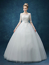A-line Wedding Dress See-Through Floor-length Bateau Organza with Beading Bow