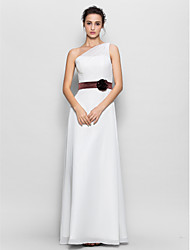 Lanting Bride® Floor-length Chiffon Bridesmaid Dress - Sheath / Column One Shoulder with Flower(s)
