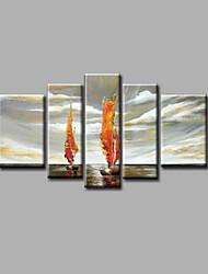 готовы повесить протянутой рукой роспись маслом холст стены искусства морской пейзаж лодки волны современный пять панелей