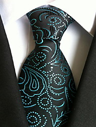 Men Wedding Cocktail Necktie At Work Blue Black Pattern Tie