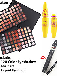 120 Colors Professional Eyeshadow Palette&Black Lasting Extension Thick Curling Mascara&2X Waterproof Liquid Eyeliner
